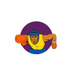 Amateur boxer punching circle drawing vector