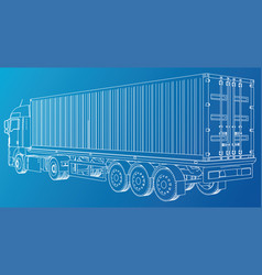 car delivery semi truck trailer wire-frame eps10 vector image vector image