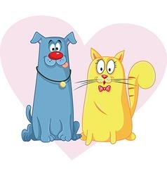 Cat and dog cartoon mascots vector