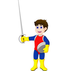 cute knight cartoon holding sword vector image