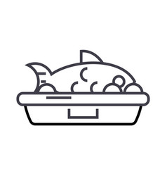 fish food line icon sign on vector image