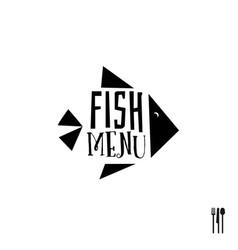 fish menu with cutlery sign vector image