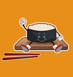 kawaii roll sushi oriental food wooden plate chop vector image