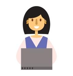 Laptop girl vector image