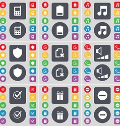 Mobile phone Battery Note Badge File Volume Tick vector image vector image