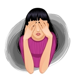 Sad crying woman closing her face with her hands vector image vector image