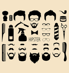 set of dress up with men hipster haircuts vector image vector image