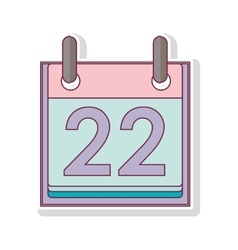 silhouette with calendar day twenty two vector image vector image