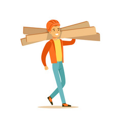 smiling construction worker wearing orange safety vector image