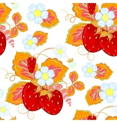 strawberries and flowers wrapping seamless vector image vector image