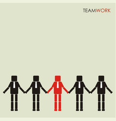teamwork concept row of business people holding vector image