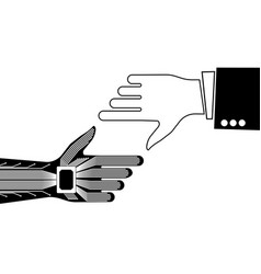 the hand of a person and a robot pointing to vector image vector image