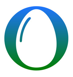 chiken egg sign white icon in bluish vector image