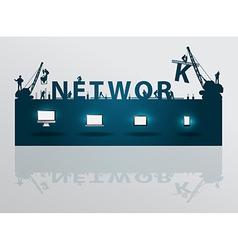 Construction site crane building network text vector image vector image