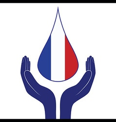 France national flag people man and woman hands vector