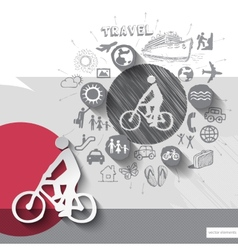 Hand drawn biker icons with icons background vector image