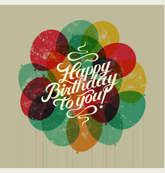 happy birthday to you retro grunge birthday card vector image