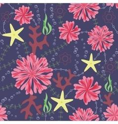 marine flowers vintage seamless pattern on dark vector image