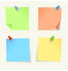 set of colour sticky Notes with pin vector image vector image