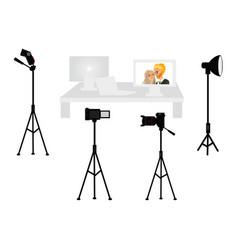 set of professional photo studio equipment vector image vector image