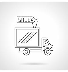 Van for sale flat line design icon vector image vector image