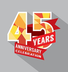 45th Years Anniversary Celebration Design vector image
