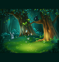 A forest glade with hare vector