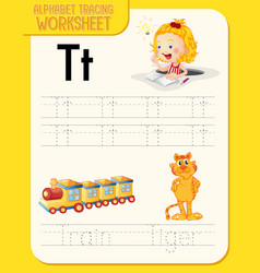 Alphabet tracing worksheet with letter t and t vector