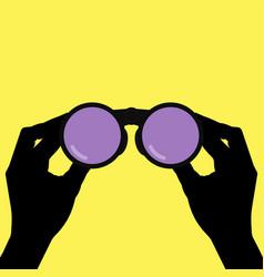 Binoculars in hands vector
