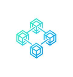 Blockchain technology blue line concept vector