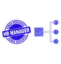 Blue scratched human resources hr manager stamp vector