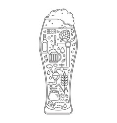 brewing icons in silhouette beer glass vector image