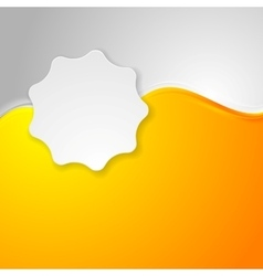 Bright orange waves and white label sticker vector image