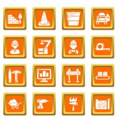 Building process icons set orange square vector