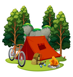 Camping site with tent and campfire vector