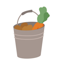 carrot and potato in bucket vegetables vector image