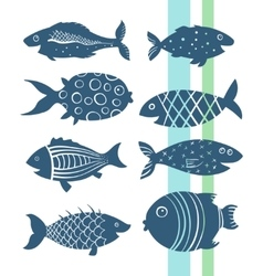 Cartoon fishes set vector image