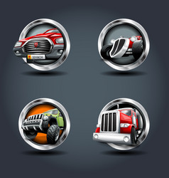 cartrucksuv steely rounded badge icon for uigame vector image