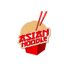 Chinese food noodle chopsticks logo food box icon vector