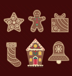 christmas ginger and chocolate cookies flat icons vector image