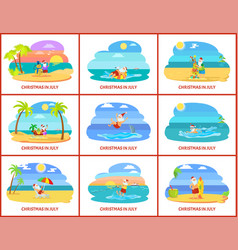 Christmas winter holiday celebrating in summer vector