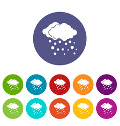 Cloud and snow set icons vector