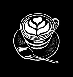 Coffee cup white chalk on black chalkboard vector
