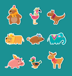collection cute cartoon animal stickers bear vector image