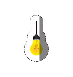 Color sticker with silhouette with yellow bulb vector