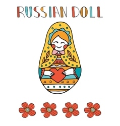 Colorful card with cute russian doll vector