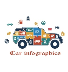 Colorful puzzle car infographic vector image