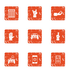 Concert ticket icons set grunge style vector