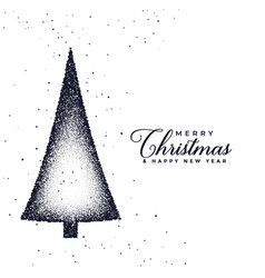 creative christmas tree design made with stipple vector image