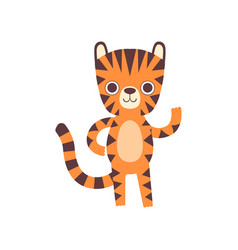 Cute little tiger waving its paw adorable wild vector